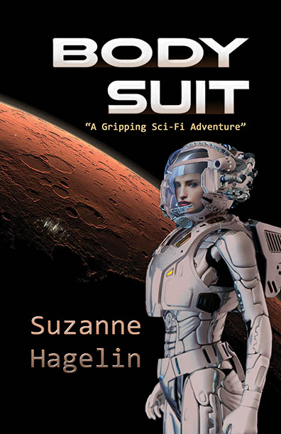 """Body Suit"" a science fiction book cover"
