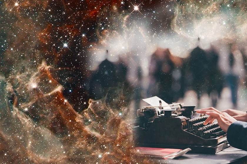 Picture of typing in space